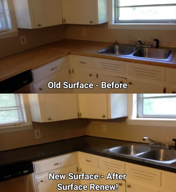 Kitchen Counter Resurfacing Before and After Surface Renew AR