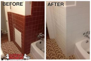 Surface Renew wall tile refinishing color change in bathroom.