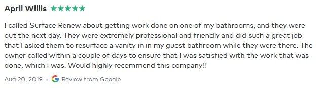 April Willis review Surface Renew bathroom vanity resurfacing