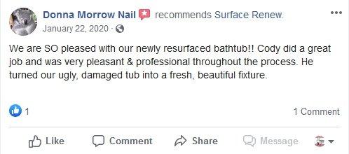 Donna Morrow Nail reviews surface renew bathtub resurfacing service