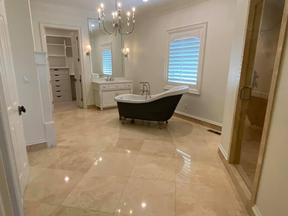 Travertine Floor Tile Polishing Service Surface Renew in Arkansas