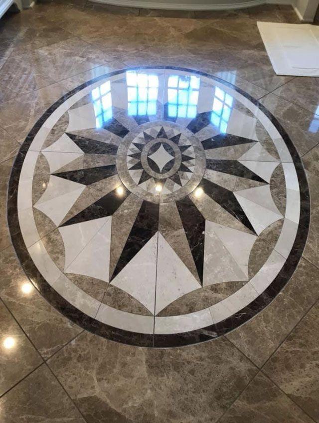 Travertine Floor Tile Restoration with Design or Company Logo